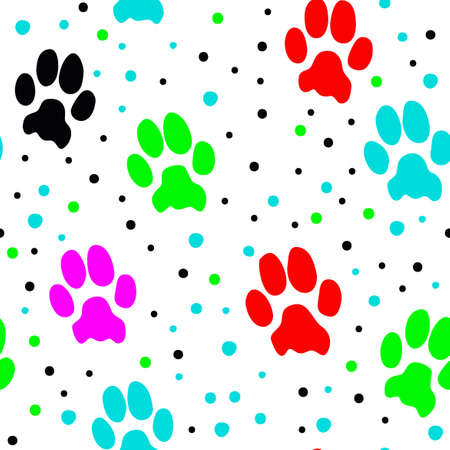 Cat paw pattern design with various colors, white background and dots, can be used for fabrics, textiles, wrapping paper, tablecloths, curtain fabrics, clothing etc.