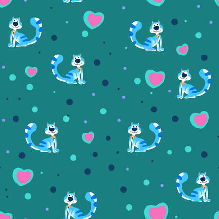 Blue cat cartoon pattern design with hearts and dots, can be used for fabrics, textiles, wrapping paper, tablecloths, curtain fabrics, clothing etc.