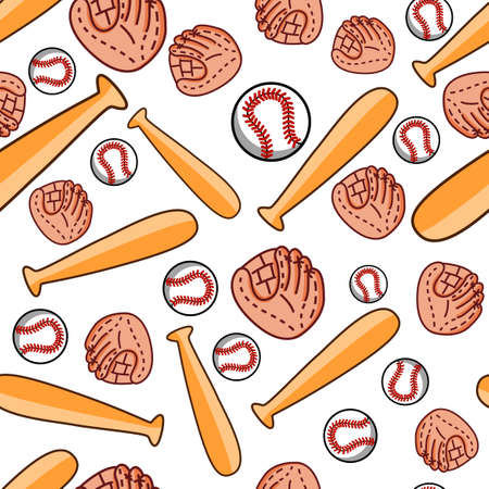 baseball sports pattern design with ball, glove, and baseball bat, can be used for fabric, textile, wrapping paper, table cloth, curtain cloth ,etc. Ilustrace