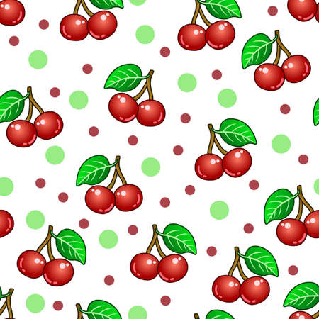 The sweet cherry pattern design, with a white background and dots, can be used for fabrics, textiles, wrapping paper, tablecloths, curtain fabrics, clothing etc.