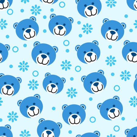 Blue bear head cartoon pattern design with light blue background, can be used for fabrics, textiles, wrapping paper, tablecloths, curtain fabrics, clothing etc.