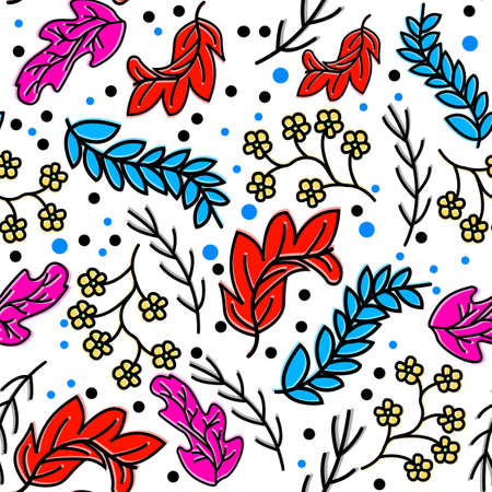 floral hand draw pattern designs, with flat colors and outlines, can be used for fabric, textile, wrapping paper, table cloth, curtain fabric and etc.