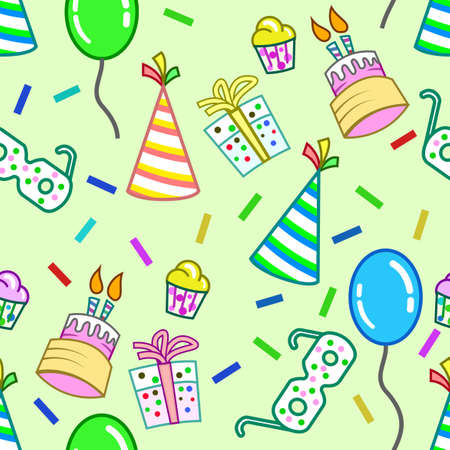 birthday-themed patterns, which are colorful, with various elements. gifts, hats, toy glasses, balloons and cakes