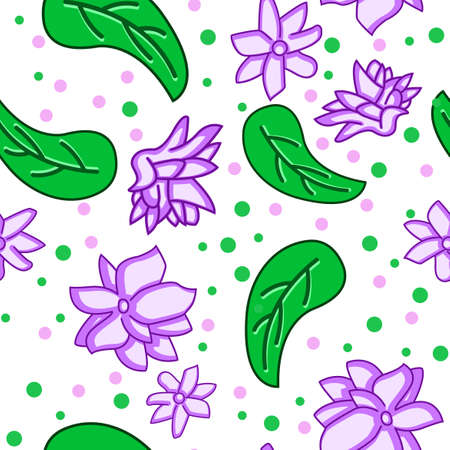 Jasmine flower pattern design with leaves with additional dots, can be used for fabric, textile, wrapping paper, table cloth, curtain fabric and etc.