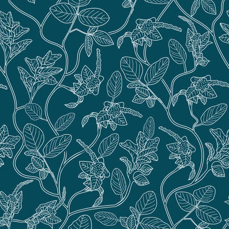 floral hand draw pattern designs, with white outlines and blue background, can be used for fabric, textile, wrapping paper, table cloth, curtain fabric and etc.