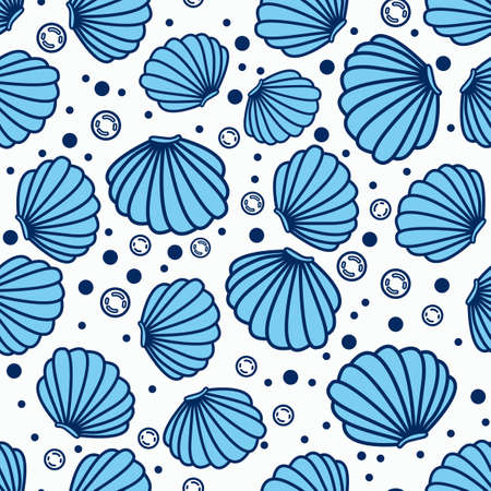 Sea shell pattern design, with white and bubble background, can be used for fabrics, textiles, wrapping paper, tablecloths, curtain fabrics, clothing etc. Ilustrace