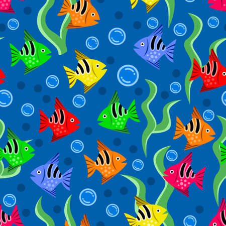 Vector design of sea fish patterns in aquariums with cute colors, can be used for fabrics, textiles, wrapping paper, tablecloths, curtain fabrics, clothing etc.