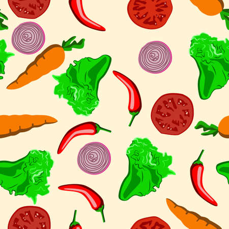 colorful vegetable patterns arranged randomly and tightly, for decoration, fabric, textiles and wrapping paper
