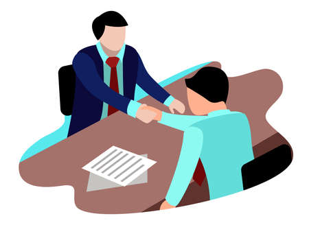 vector flat illustration of job applicants accepted at the company