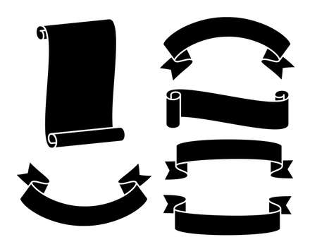 Vector design of flat black ribbons in white stripes with smooth folds is available in various shapes
