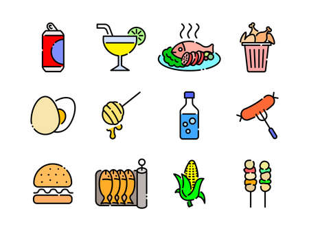 Advanced design Food and beverage line colored icons style 6 vol 2