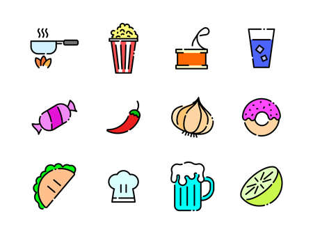 Advanced design Food and beverage line colored icons style 6 vol 4