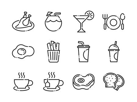 Advanced design Food and beverage line black icons style 6 vol 3 Vecteurs