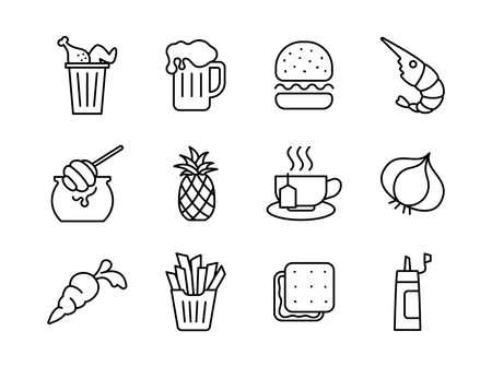 Advanced design Food and beverage line black icons style 4 vol 2 Vektorové ilustrace