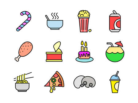 Advanced design Food and beverage line colored icons style 4 vol 2