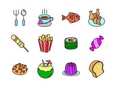 Advanced design Food and beverage line colored icons Vetores