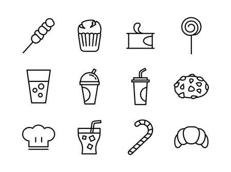 Advanced design Food and beverage line black icons Illustration