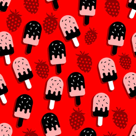 design vector pattern of ice cream, contrasting with black and white with red background