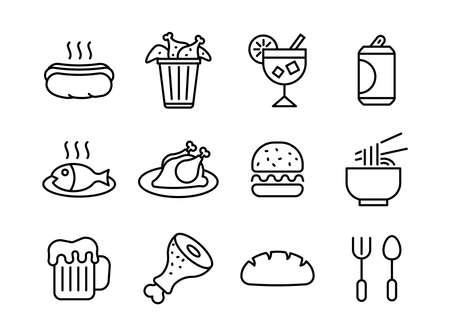 Advanced design Food and beverage line black icons Vector Illustratie