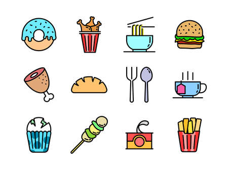 Advanced design Food and beverage line colored icons