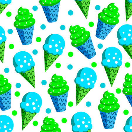 design vector pattern of ice cream, with a variety of blue green in white background