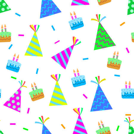 vector design of birthday patterns, hat, cake, confetti popped, for templates or textiles and printing