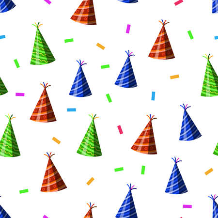 vector design of birthday patterns, hats, and confetti popped, for templates or textiles and printing