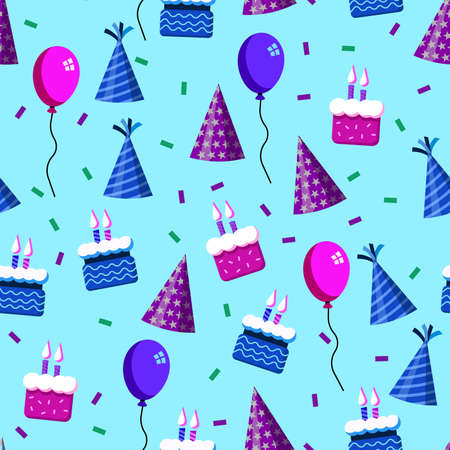vector design of birthday patterns, balloon, cake, and confetti popped, for templates or textiles and printing