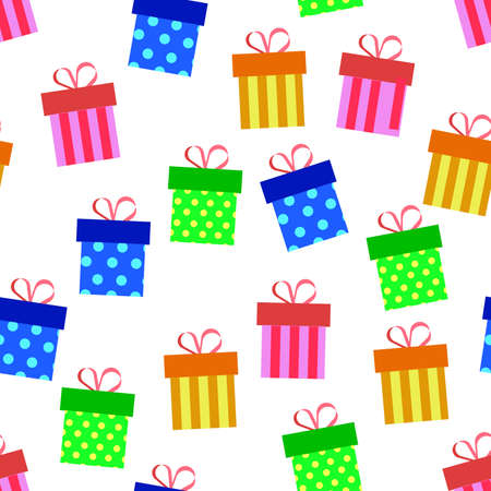 vector design of birthday patterns, gift boxes, for templates or textiles and printing