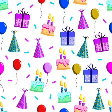 vector design of birthday patterns, hats, balloons, confetti popped, and cakes, for templates or textiles and printing