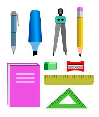 vector set of equipment for school supplies