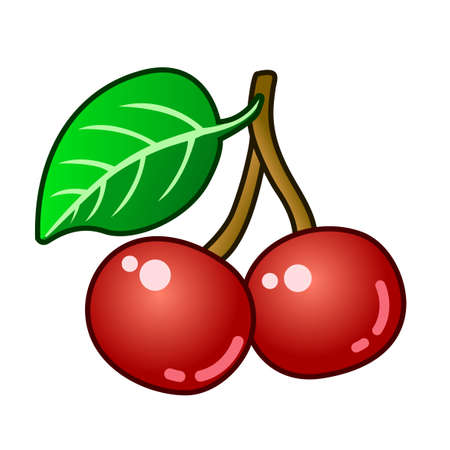 vector of two ripe and shiny cherries  イラスト・ベクター素材