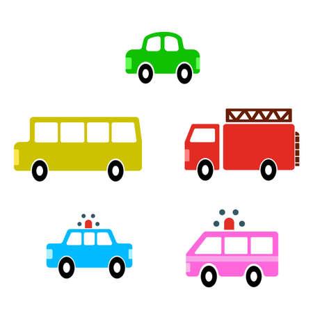 flat vectors of various cute vehicles  イラスト・ベクター素材