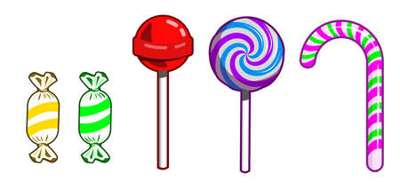vector of various kinds of lollipops and candy canes