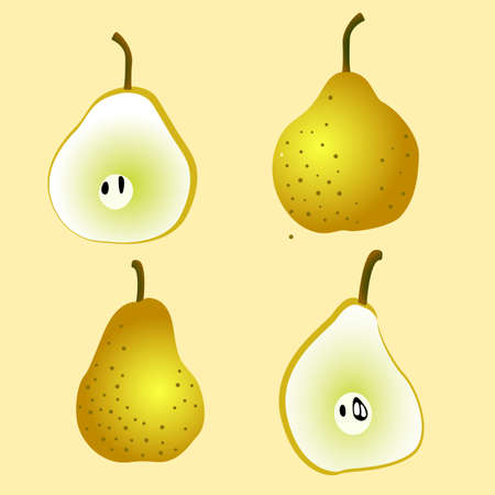 four whole and split pear vectors