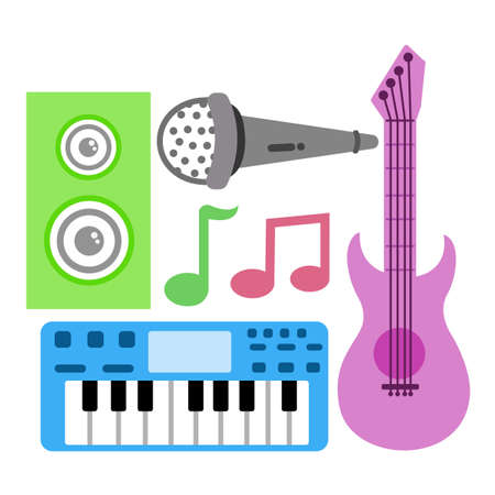 four flat vectors of musical instruments  イラスト・ベクター素材