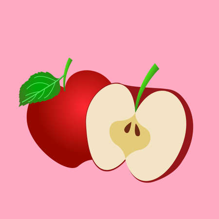 vector of simple apples that are whole and sliced
