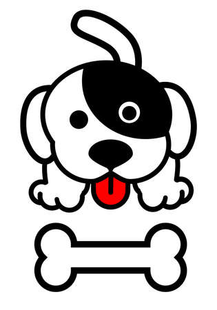 vector of cute puppies with bones