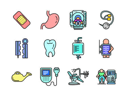Advanced design Healthcare and Medical vector filed colored line icons, style 1 vol 5, suitable for web, mobile apps and etc.  イラスト・ベクター素材