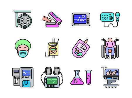 Advanced design Healthcare and Medical vector filed colored line icons, style 1 vol 2, suitable for web, mobile apps and etc.  イラスト・ベクター素材