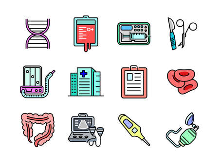 Advanced design Healthcare and Medical vector filed colored line icons, style 1 vol 4, suitable for web, mobile apps and etc.