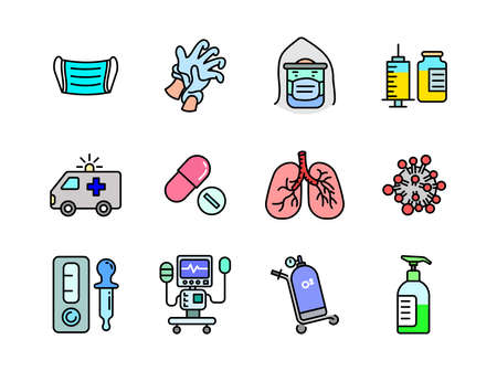 Advanced design Healthcare and Medical vector filed colored line icons, style 1 vol 1, suitable for web, mobile apps and etc.