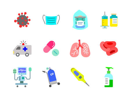 Advanced design Healthcare and Medical vector flat color icons, style 1 vol 1, suitable for web, mobile apps and etc.  イラスト・ベクター素材
