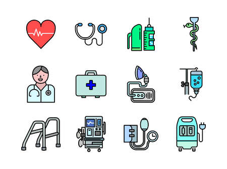 Advanced design Healthcare and Medical vector filed colored line icons, style 1 vol 3, suitable for web, mobile apps and etc.
