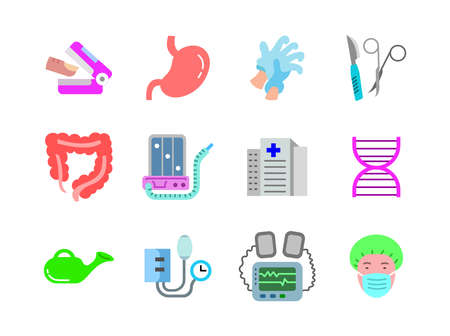 Advanced design Healthcare and Medical vector flat color icons, style 1 vol 2, suitable for web, mobile apps and etc.  イラスト・ベクター素材