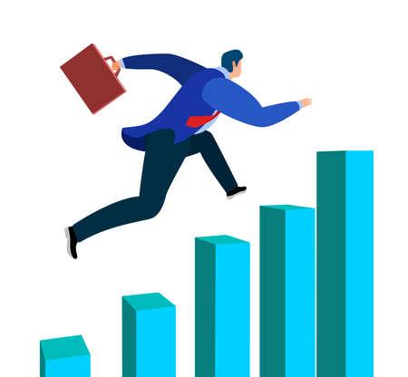 successful businessman running up the bar chart