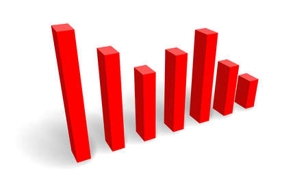 3d bar chart vector illustration with downward trend with red shading