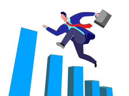 a happy and successful businessman running up the bar chart  イラスト・ベクター素材
