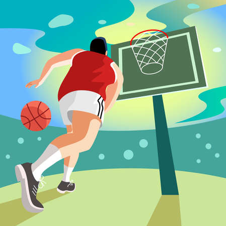 flat vector illustration of basketball player running and trying to throw the ball in the net  イラスト・ベクター素材