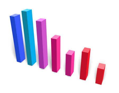 3d bar chart vector illustration with downward trend with colorful shading